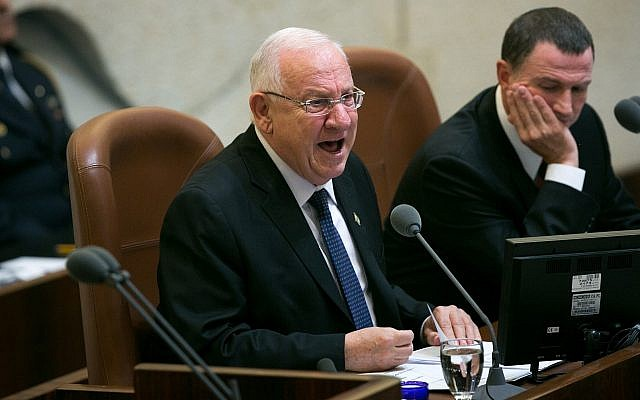 President Reuven Rivlin addresses the Knesset at the opening of the winter session, October 12, 2015. (Miriam Alster/Flash90)