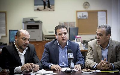 Joint (Arab) List leader Ayman Odeh (C) leads the party's weekly faction at the Knesset, October 31, 2016. (Miriam Alster/Flash90)