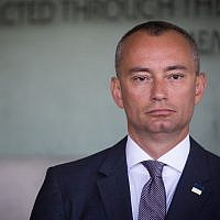 Nikolay Mladenov, United Nations Special Coordinator for the Middle East Peace Process seen during a visit of UN Secretary General Antonio Guterres (unseen) at the Yad Vashem Holocaust Memorial in Jerusalem August 28, 2017. (Yonatan Sindel/Flash90)