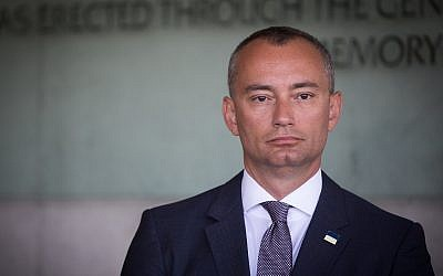 Nikolay Mladenov, United Nations Special Coordinator for the Middle East Peace Process,   at Yad Vashem in August 28, 2017. (Yonatan Sindel/Flash90)