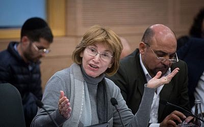 Knesset member Yael German at a committee meeting in the Knesset on January 1, 2018. (Miriam Alster/Flash90)
