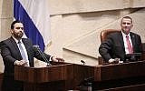 Shas party MK Yinon Azoulay  (left) speaks at the Knesset, as Speaker Yuli Edelstein looks on. (Yonatan Sindel/Flash90)