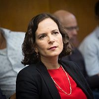 Kulanu MK Rachel Azaria attends a Kulanu faction meeting in the Israeli parliament on May 7, 2018(Miriam Alster/Flash90)