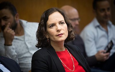 Kulanu MK Rachel Azaria attends a Kulanu faction meeting in the Knesset on May 7, 2018. (Miriam Alster/Flash90)