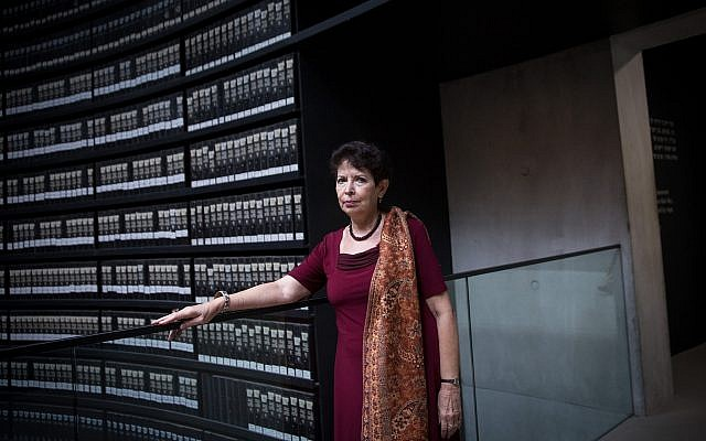 Dina Porat, chief historian of Yad Vashem Holocaust memorial, at the museum on May 29, 2018. (Miriam Alster/Flash90)