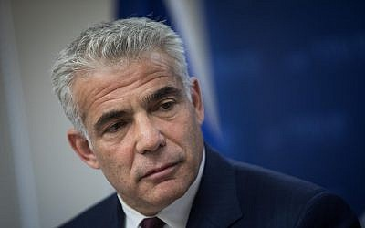 Yesh Atid leader MK Yair Lapid speaks during a faction meeting at the Knesset, in Jerusalem, June 11, 2018. Hadas Parush/Flash90)