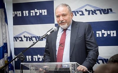 Defense Minister Avigdor Liberman leads a Yisrael Beytenu party faction meeting at the Knesset on June 18, 2018. (Miriam Alster/Flash90)