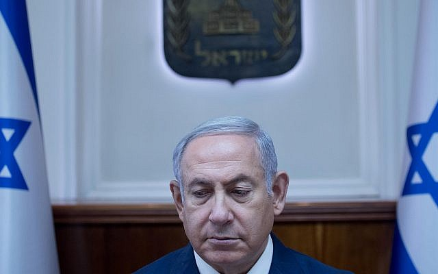 Prime Minister Benjamin Netanyahu at the weekly government conference at the Prime Minister's Office in Jerusalem on July 1, 2018. (Ohad Zwigenberg/POOL)