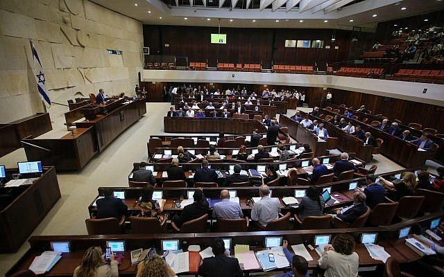 View of a plenum session in the assembly hall of the Knesset, July 2, 2018 (Flash90)