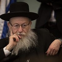Yaakov Litzman attends a Knesset Health Committee meeting on July 2, 2018. (Hadas Parush/Flash90)