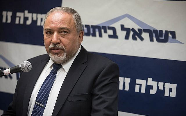 Defense Minister Avigdor Liberman leads a Yisrael Beytenu faction meeting at the Knesset on July 2, 2018. (Hadas Parush/Flash90)