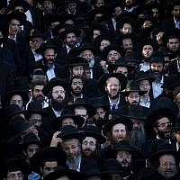 Ultra-Orthodox Jews attend a protest against the enlistment bill at the Sanhedria Cemetery in Jerusalem, July 2, 2018 (Yonatan Sindel/Flash90)