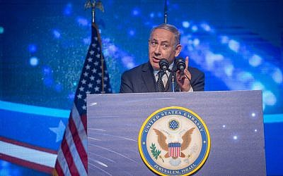 Prime Minister Benjamin Netanyahu speaks during an American Independence Day celebration in Airport City on July 3, 2018. (Miriam Alster/Flash90)