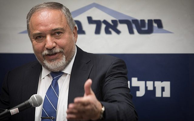 Defense Minister Avigdor Liberman heads a faction meeting of his Yisrael Beytenu party at the Knesset on July 9, 2018. (Hadas Parush/Flash90)