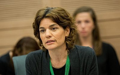 Meretz party leader MK Tamar Zandberg attends a joint Knesset House and Constitution Committee meeting at the Knesset, July 10, 2018. (Yonatan Sindel/Flash90)