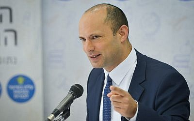 Education Minister Naftali Bennett speaks during a press conference at the Ministry of Education in Tel Aviv, July 11, 2018. (Flash90)