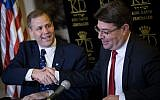 Science and Technology Minister Ofir Akunis, right, with Jim Bridenstine, Administrator of the National Aeronautics and Space Administration (NASA) at a press conference at the King David hotel in Jerusalem, July 12, 2018. (Yonatan Sindel/Flash90)