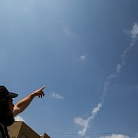 A smoke trail of a Patriot missile that intercepted a Syrian drone that entered Israeli airspace from Syria, as seen over the northern Israeli city of Safed on July 13, 2018. (David Cohen/Flash90)