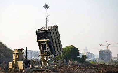 An Iron Dome Missile Battery near Tel Aviv on July 15, 2018 (Ben Dori/Flash90)