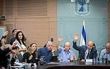 Knesset members vote on amendments to the proposed Jewish nation-state bill at the Knesset, July 16, 2018. (Miriam Alster/Flash90)