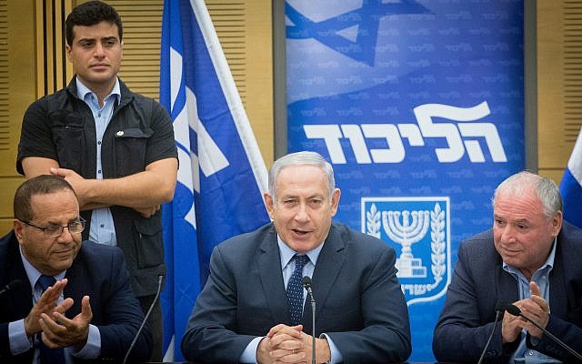 Prime Minister Benjamin Netanyahu leads a Likud faction meeting the Knesset, July 16, 2018. (Miriam Alster/Flash90)