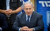 Prime Minister Benjamin Netanyahu leads a Likud faction meeting in the Knesset on July 16, 2018. (Miriam Alster/Flash90)