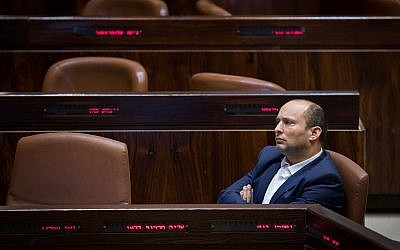 Education Minister Naftali Bennett attends a Knesset plenary session ahead of the vote on the Jewish state law, July 18, 2018 (Hadas Parush/Flash90)