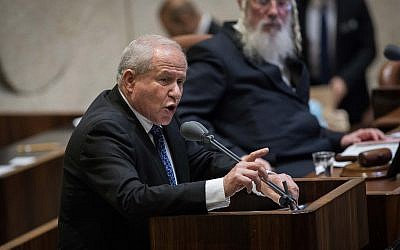 Likud MK Avi Dichter, sponsor of the Jewish state bill, speaks during the Knesset plenary session ahead of the vote on it, July 18, 2018 (Hadas Parush/Flash90)