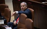 Prime Minister Benjamin Netanyahu attends a Knesset plenary session ahead of the vote on the National Law, July 18, 2018 (Hadas Parush/Flash90)