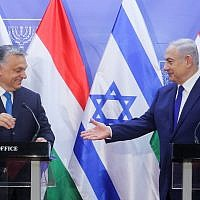 Prime Minister Benjamin Netanyahu holds a joint press conference with his Hungarian counterpart, Viktor Orban, at the Prime Minister's Office in Jerusalem, on July 19, 2018 (Marc Israel Sellem/POOL)