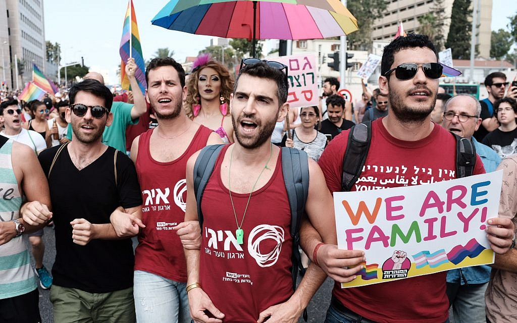 Protesters for LGBT rights march in Tel Aviv, July 22, 2018 (Tomer Neuberg/Flash90)