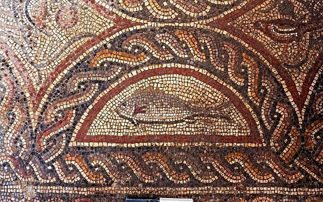 Animal figures in the newly exposed Lod mosaic. (Asaf Peretz, IAA)