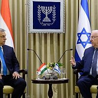 President Rivlin, right, hosts Hungarian Prime Minister Viktor Orban in his official Jerusalem residence, July 19, 2018 (Avi Kanner)