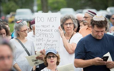 In Burlington Massachusetts, a gathering on Tisha B'Av is held outside the government's ICE offices, July 22, 2018 (Matt Lebovic/The Times of Israel)
