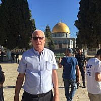 Agriculture Minister Uri Ariel visiting the Temple Mount in Jerusalem on July 8, 2018. (Courtesy)
