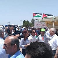 Jordanians take part in a protest in the city of Irbid against the agreement to import natural gas from Israel on July 25, 2018. (Times of Israel staff)