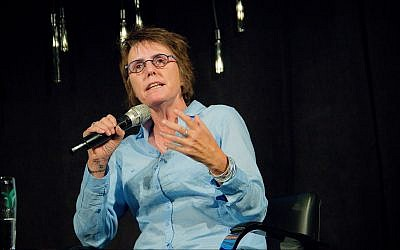 Terror attack survivor Kay Wilson describes the road to healing after the premier of 'Black Forest' as part of The Times of Israel Presents series at Beit Avi Chai, Jerusalem on July 7, 2018. (courtesy, Laura Ben-David)