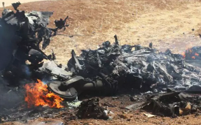 The Islamic State terrorist group publishes pictures of what it says are remains of Syrian jet shot down by Israel on June 24, 2018 (Screenshot courtesy of Walla)
