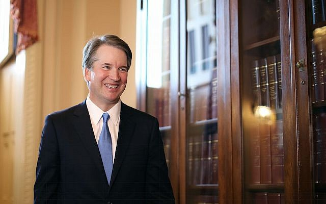 Judge Brett Kavanaugh at the US Capitol in Washington, DC, July 10, 2018. (Chip Somodevilla/Getty Images via JTA)