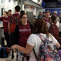Na'amod activists confront Birthright participants at Luton Airport on July 15, 2018. (Na'amod via UK Jewish News)