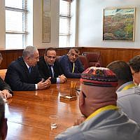 Prime Minister Benjamin Netanyahu meets with Druze regional council heads at his office in Jerusalem to discuss the nation-state law on July 29, 2018. (Kobi Gideon/GPO)