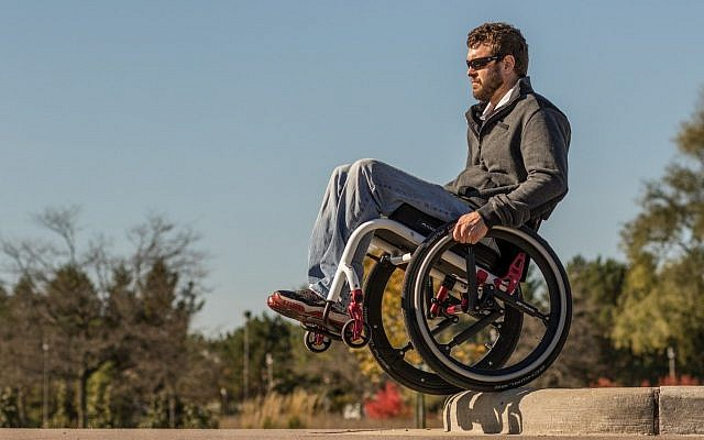 A wheelchair equipped with the SoftWheel suspension systems (Courtesy)