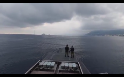 The Israeli Navy trains alongside the French fleet off the coast of Toulon, in southern France, in July 2018. (Screen capture: Israel Defense Forces)