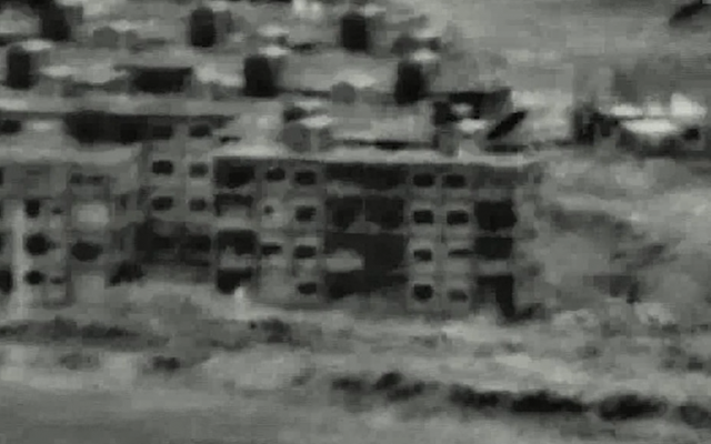 A Syrian military position that was attacked by the Israeli Air Force on July 12, 2018, in response to a Syrian military drone that infiltrated into Israeli territory the day before. (Screen capture: Israel Defense Forces)