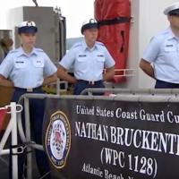The Coast Guard named a ship after slain Jewish-American Coast Guardsman Nathan Bruckenthal, in Alexandria, Virginia, July 25, 2018. (YouTube Screenshot)