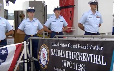 The Coast Guard named a ship after slain Jewish-American Coast Guardsman Nathan Bruckenthal, in Alexandria, Virginia, July 25, 2018. (YouTube Screenshot)