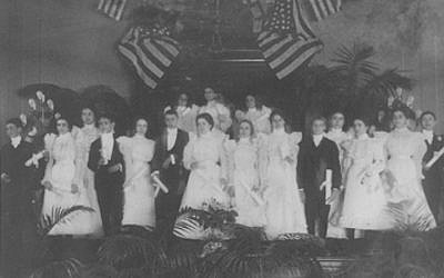 In 1898, Nashville's Congregation Ohabai Sholom decorated its pulpit with American flags in honor of confirmation ceremonies. (Courtesy of The Jacob Rader Marcus Center of the American Jewish Archives/via JTA)