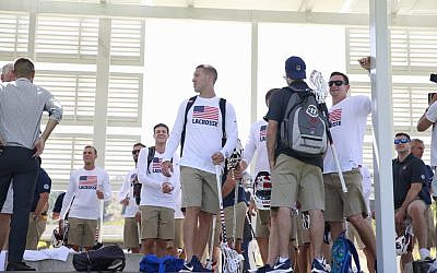 Team USA arrives in Israel for the national lacrosse tournament, July 2018 (Courtesy The Israel Project)