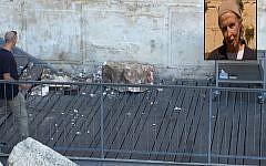 A boulder from the Western Wall falls onto a prayer platform on July 23, 2018 (Courtesy/The Western Wall Heritage Foundation via the Masorti Movement of Israel); Inset: Daniella Goldberg, who was praying a few meters away (screenshot: Hadashot)