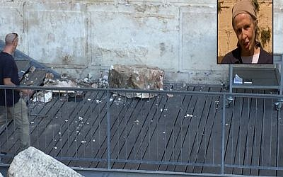 A boulder from the Western Wall falls onto a prayer platform on July 23, 2018 (Courtesy/The Western Wall Heritage Foundation via the Masorti Movement of Israel); Inset: Daniella Goldberg, who was praying a few meters away (screenshot: Hadashot)
